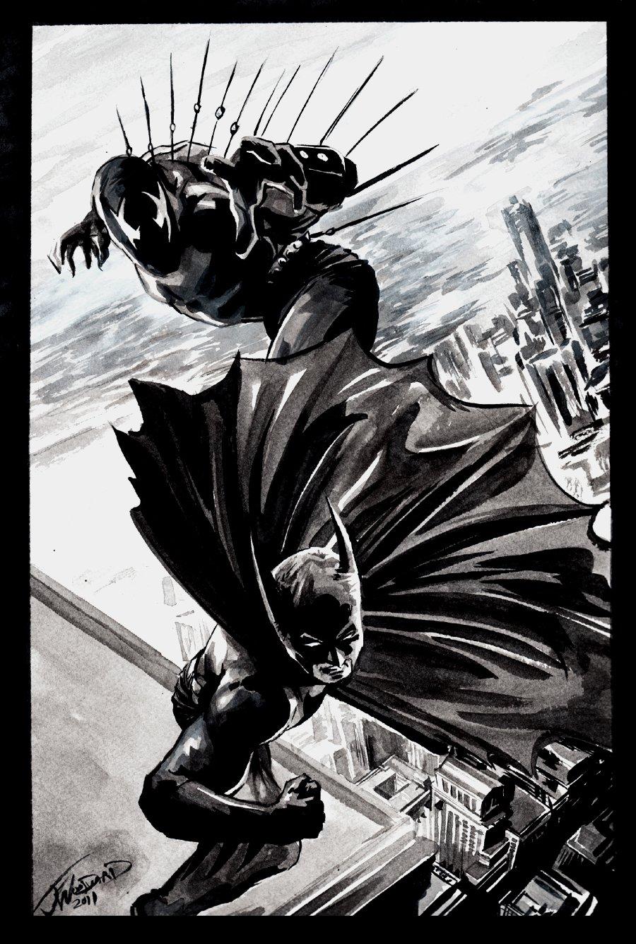 Batman / Grendel mixed Media Pinup (2011)