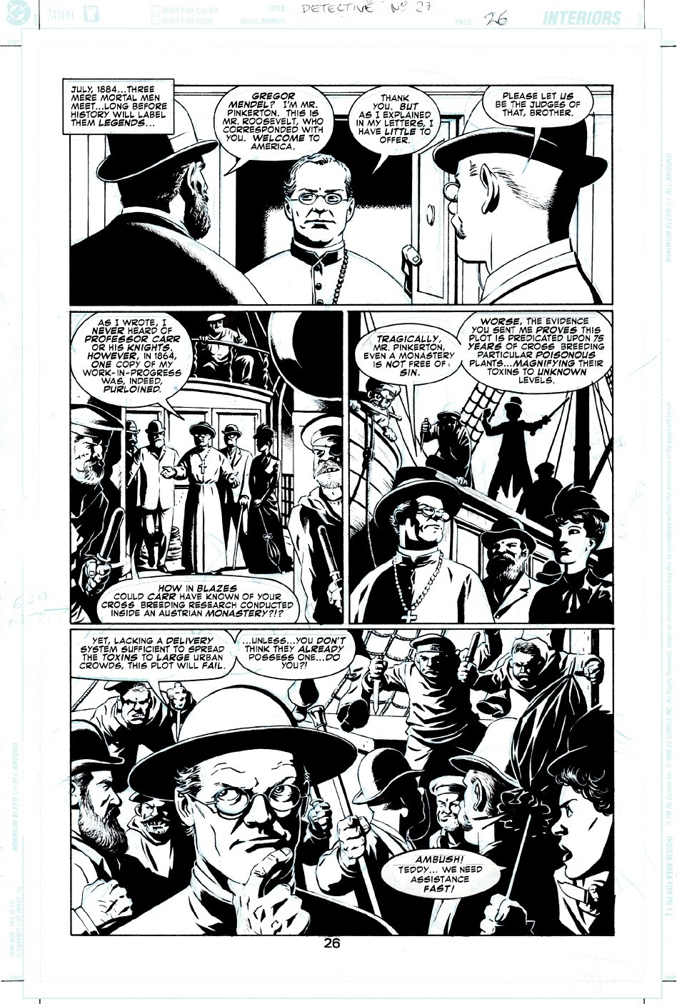 Batman: Detective #27 p 26 (Teddy Roosevelt, Mr. Pinkerton, Gregor Mendel!) 2003