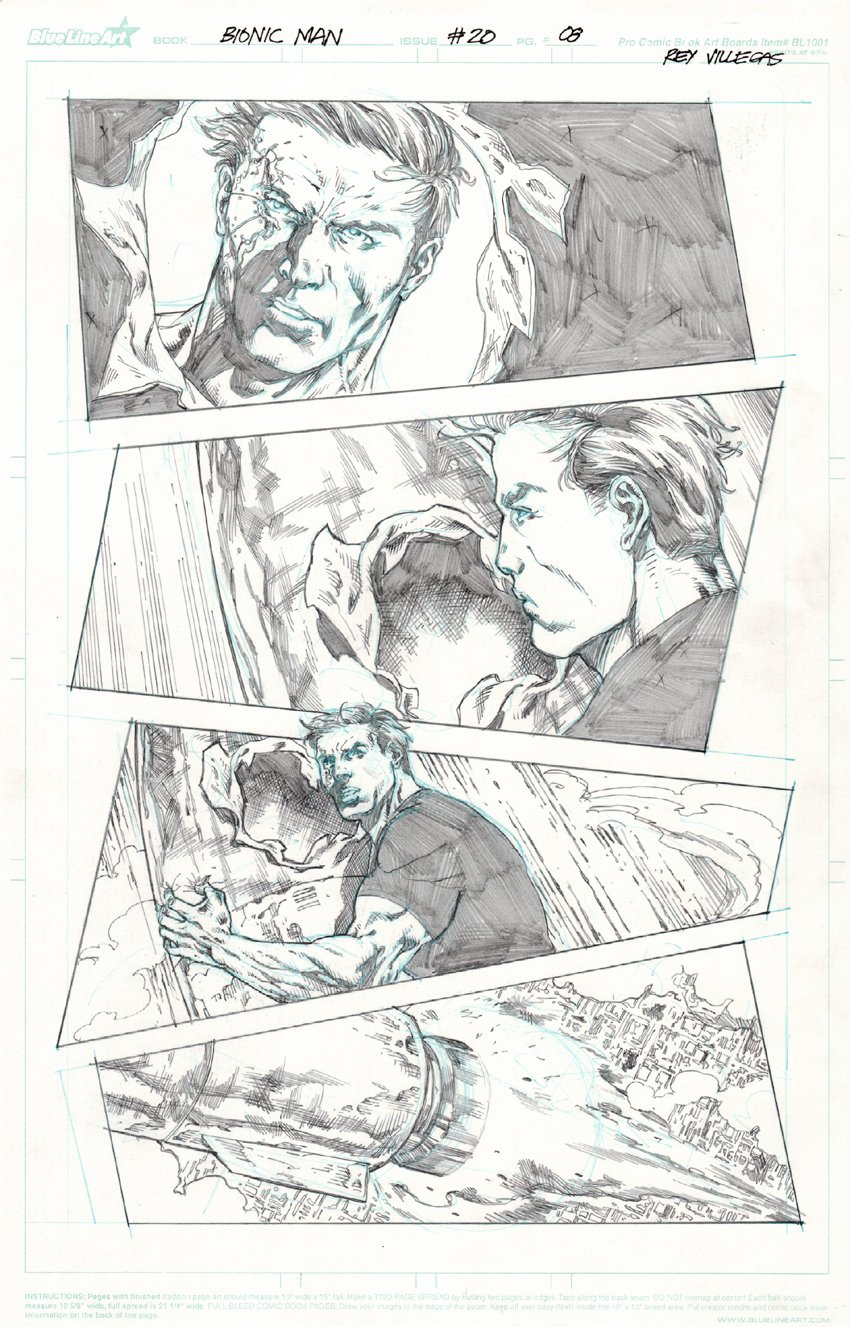 Bionic Man #20 p.8 (All Out Battle Page!) 2013