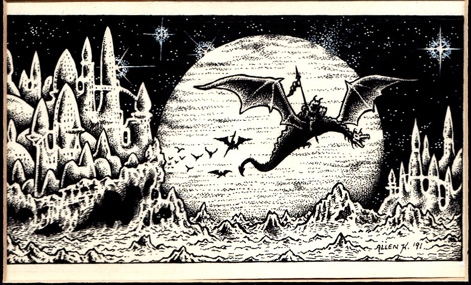 Demon Dragons Flying By Futuristic Castles Published Fanzine Pinup (1995)