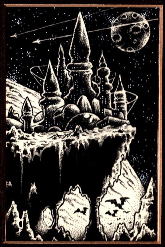 Futuristic Castle On Cliff Published Fanzine Pinup (1990)