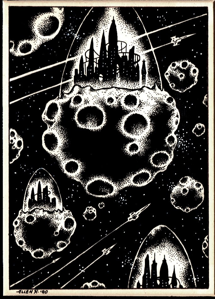 Flying Futuristic Castles In Outer Space Published Fanzine Pinup (1990)