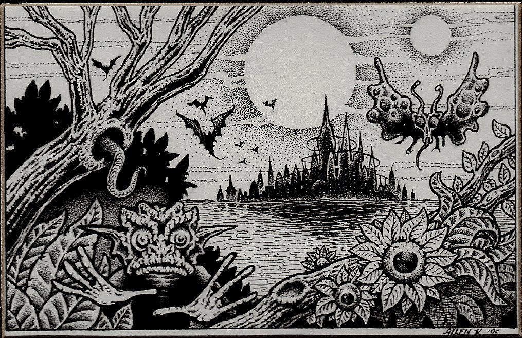Crazy Creatures In Swamp By Futuristic Castles Published Fanzine Pinup (1995)