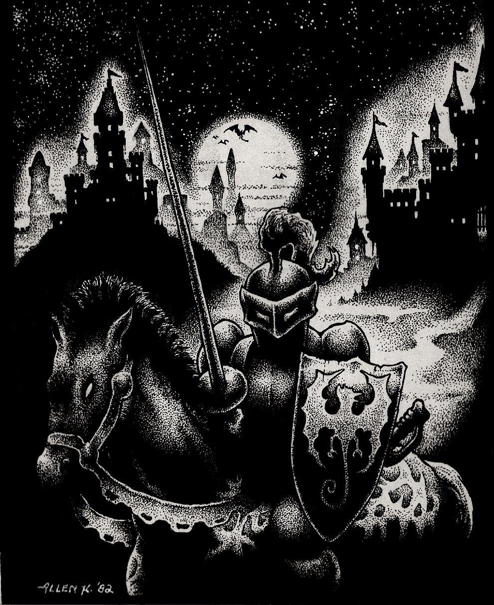 Knight On Horseback With Castle Background Published Fanzine Pinup (1982)