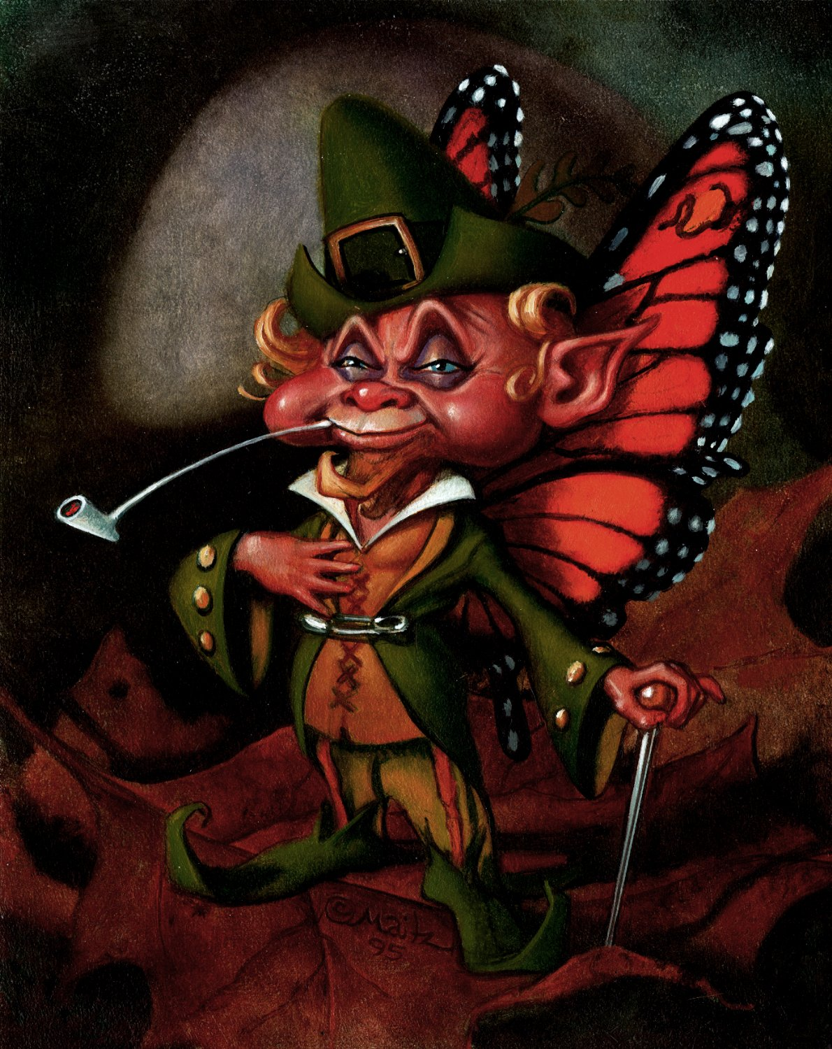 GUARDIANS Collectible Fantasy Card Painting #28 'MALE PIXIE' CARD (1995)