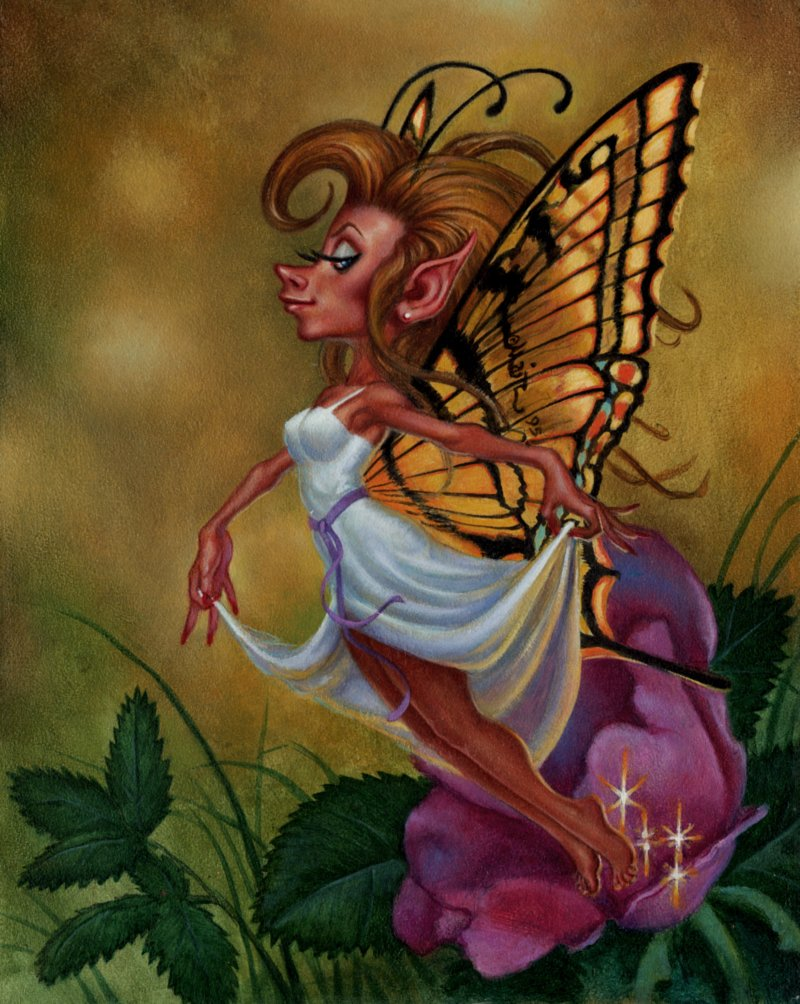 GUARDIANS Collectible Fantasy Card Painting #29 'FEMALE PIXIE' CARD (1995)
