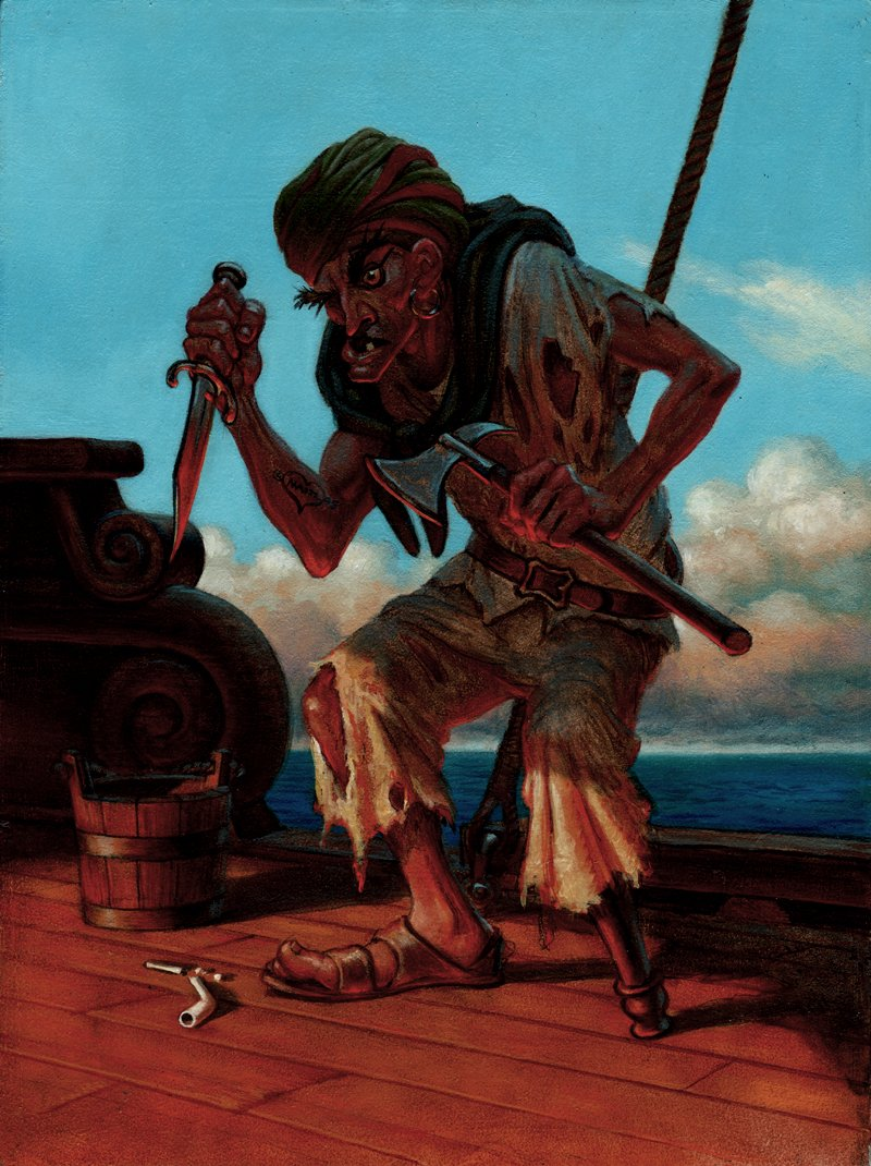 GUARDIANS Collectible Fantasy Card Painting #47 'PEG LEG - YARD RAT' CARD (1995)