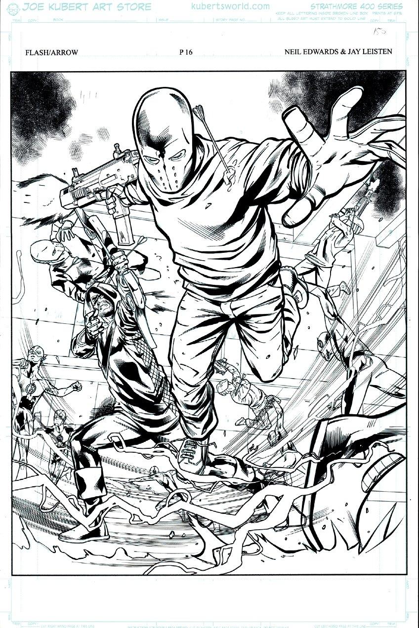 Arrow vs. The Flash: Double Down #1 p 16 SPLASH (GREAT BATTLE SPLASH!) 2015
