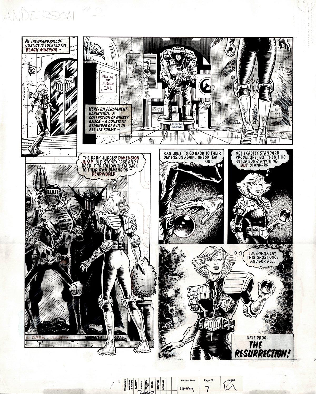 2000 AD #417 p 5 (JUDGE ANDERSON & THE 4 DARK JUDGES!) Large Art -1985