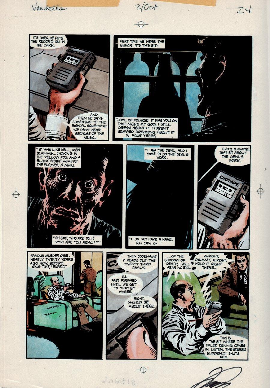 V for Vendetta #2 p 24 Hand Painted Large Color Art (HISTORIC 'V' SCENE& SAYING!) 1988
