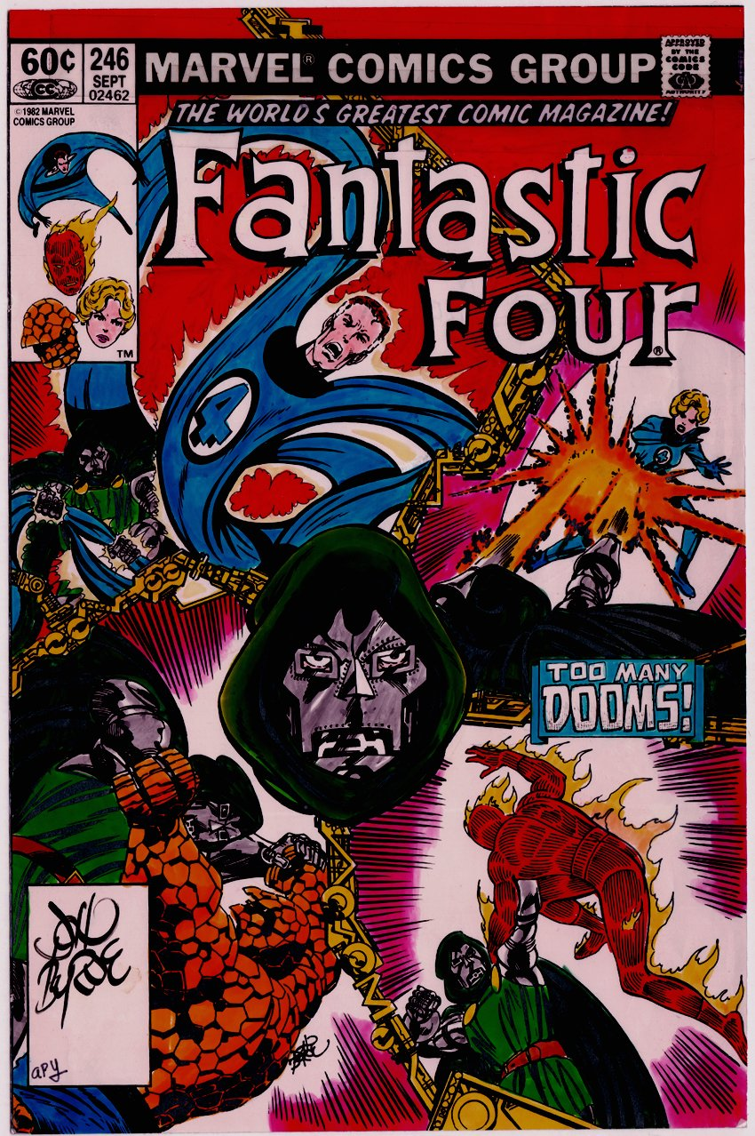 Fantastic Four #246 Hand Colored Cover Guide Signed By John Byrne! (1982)