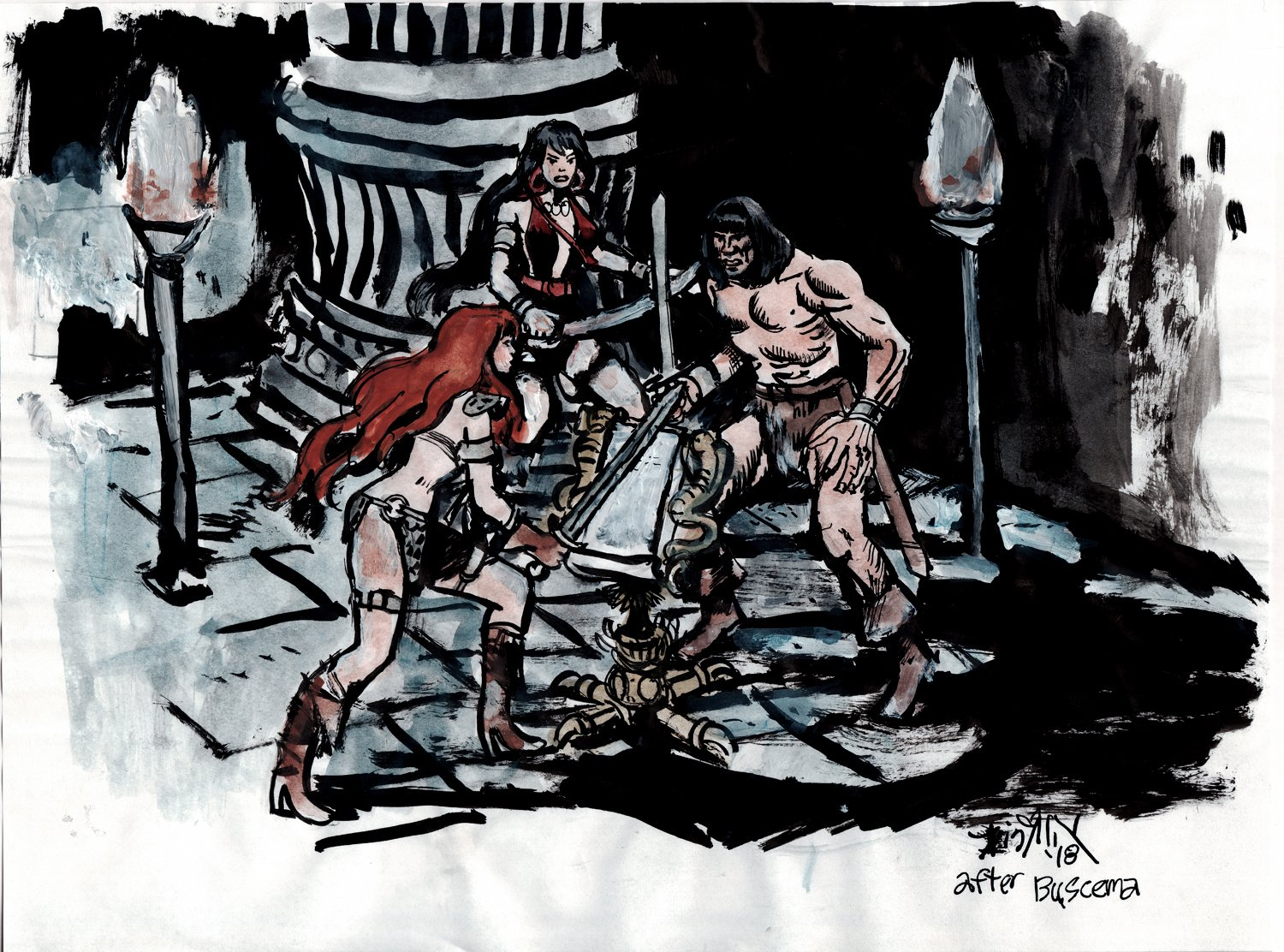 Conan, Red Sonja, Belit Mixed Media Painting (2018)