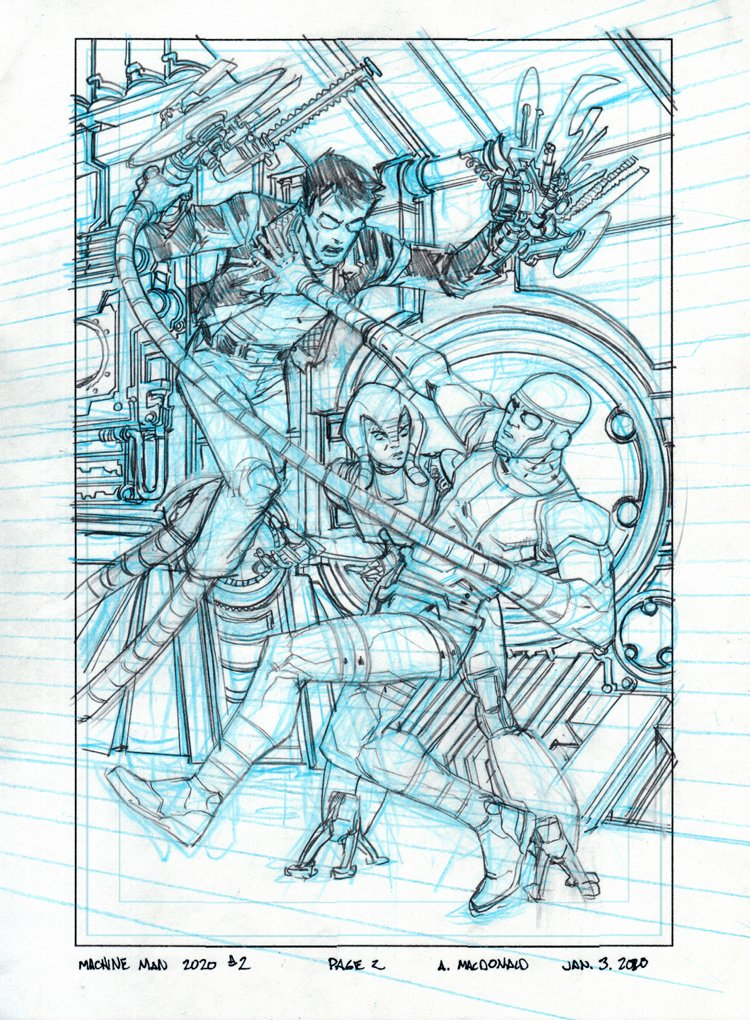 Machine Man #2 SPLASH PRELIM (Machine Man Battles.....Machine Man!) 2020