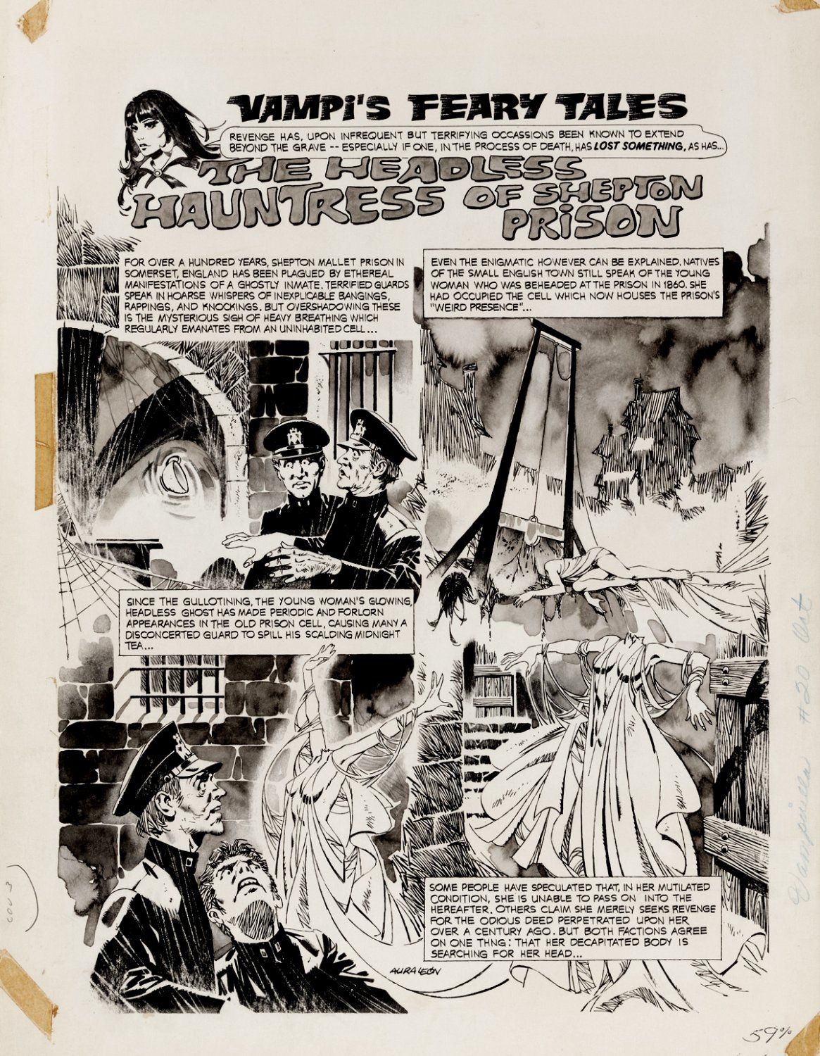 Vampirella #20 Inside Back Cover (3 DECAPITATED WOMEN FROM GUILLOTINE!) Large Art - 1972
