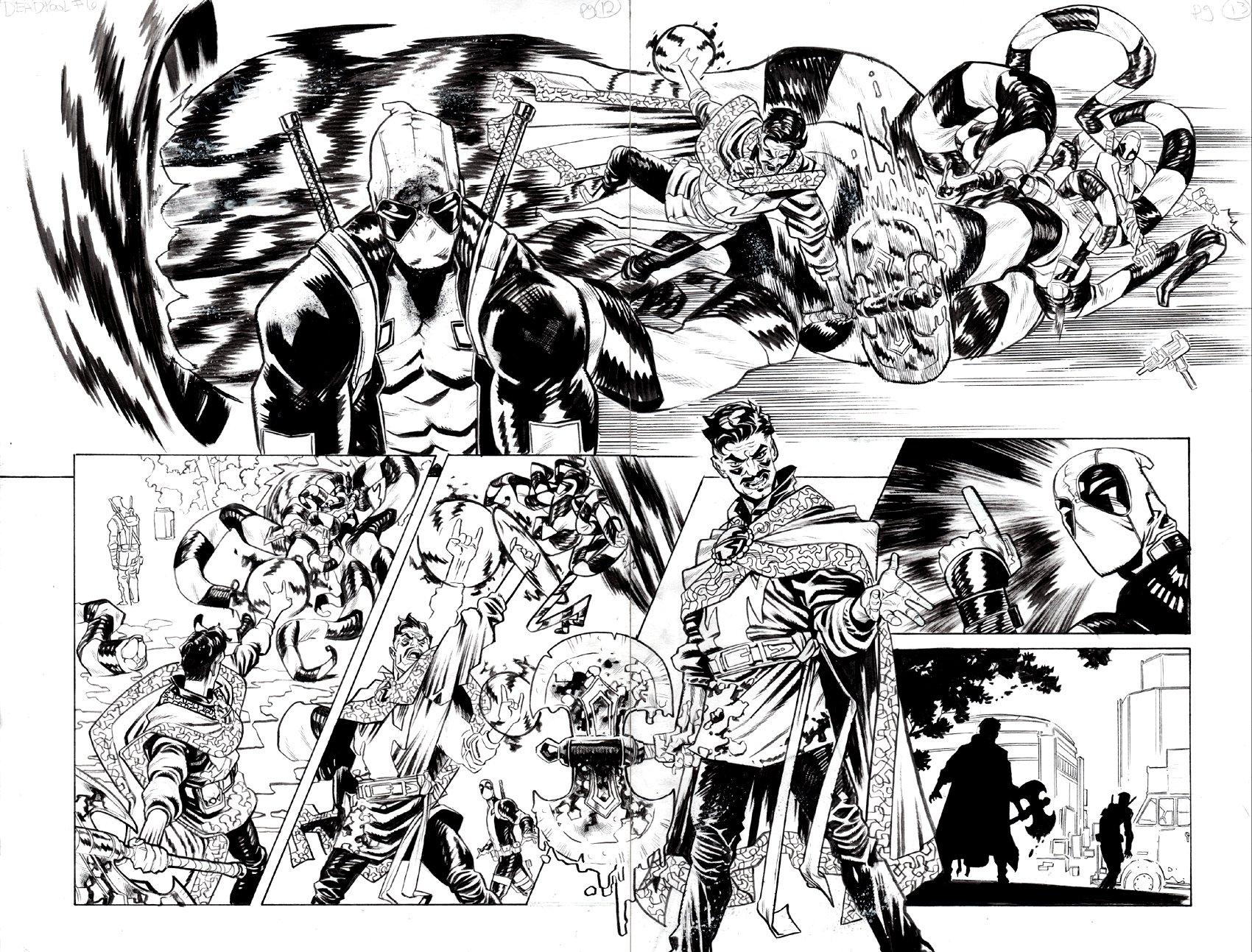 Deadpool #6 p 12-13 Double Spread Splash (AWESOME DR STRANGE BATTLING MONSTER AS DEADPOOL WATCHES!) 2018