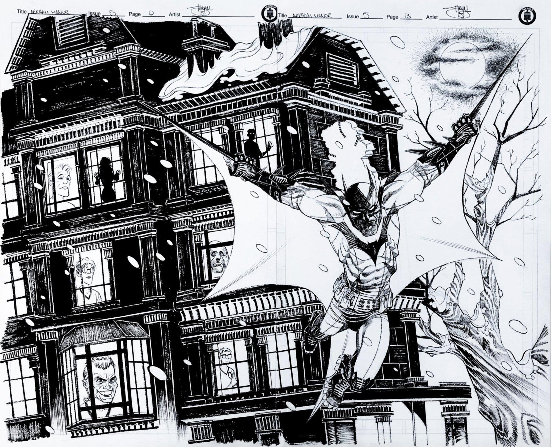 Batman Arkham Manor #5 p 12-13 DPS (HUGE BATMAN LEAPING FROM ARKHAM MANOR!) 2015