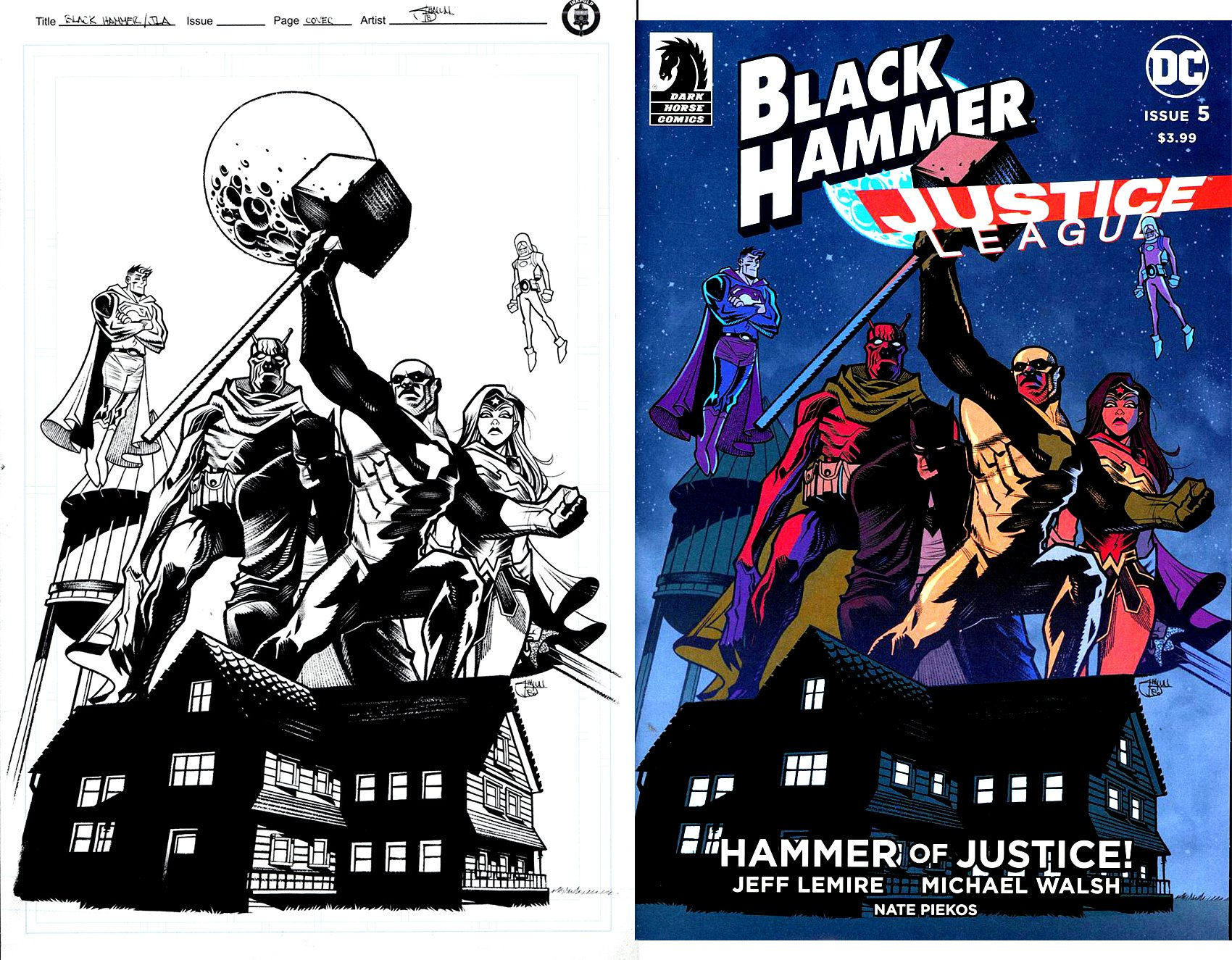 Justice League: Hammer of Justice! #5 Cover (Batman, Wonder Woman, Superman, Black Hammer, Barbalien, Colonel Weird!) 2019