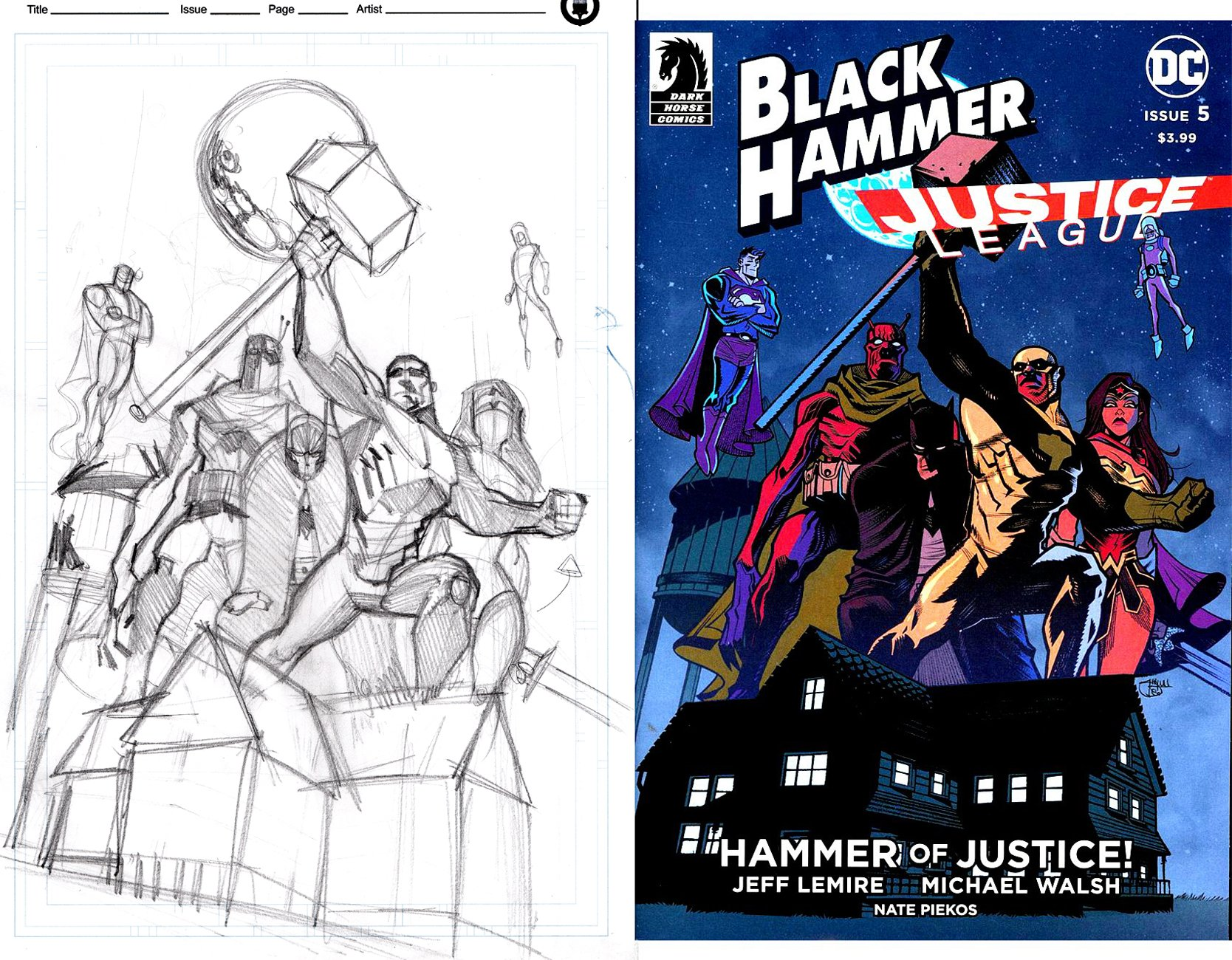 Black Hammer / Justice League #5 Full Size Cover Prelim & 3 ink Thumbnail Cover Drawings