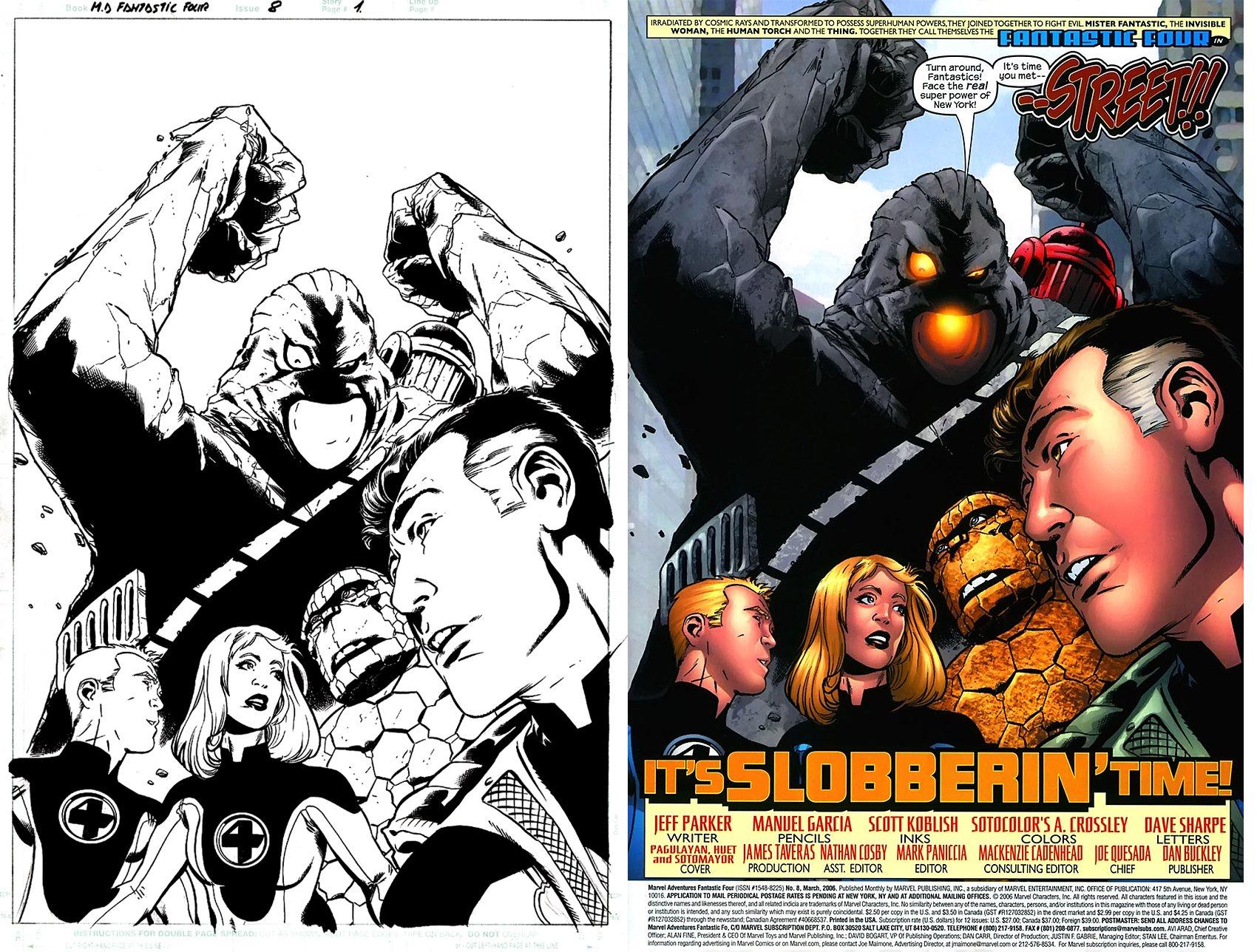 Marvel Adventures Fantastic Four #8 p 1 Splash (The FF vs. Street!) 2006