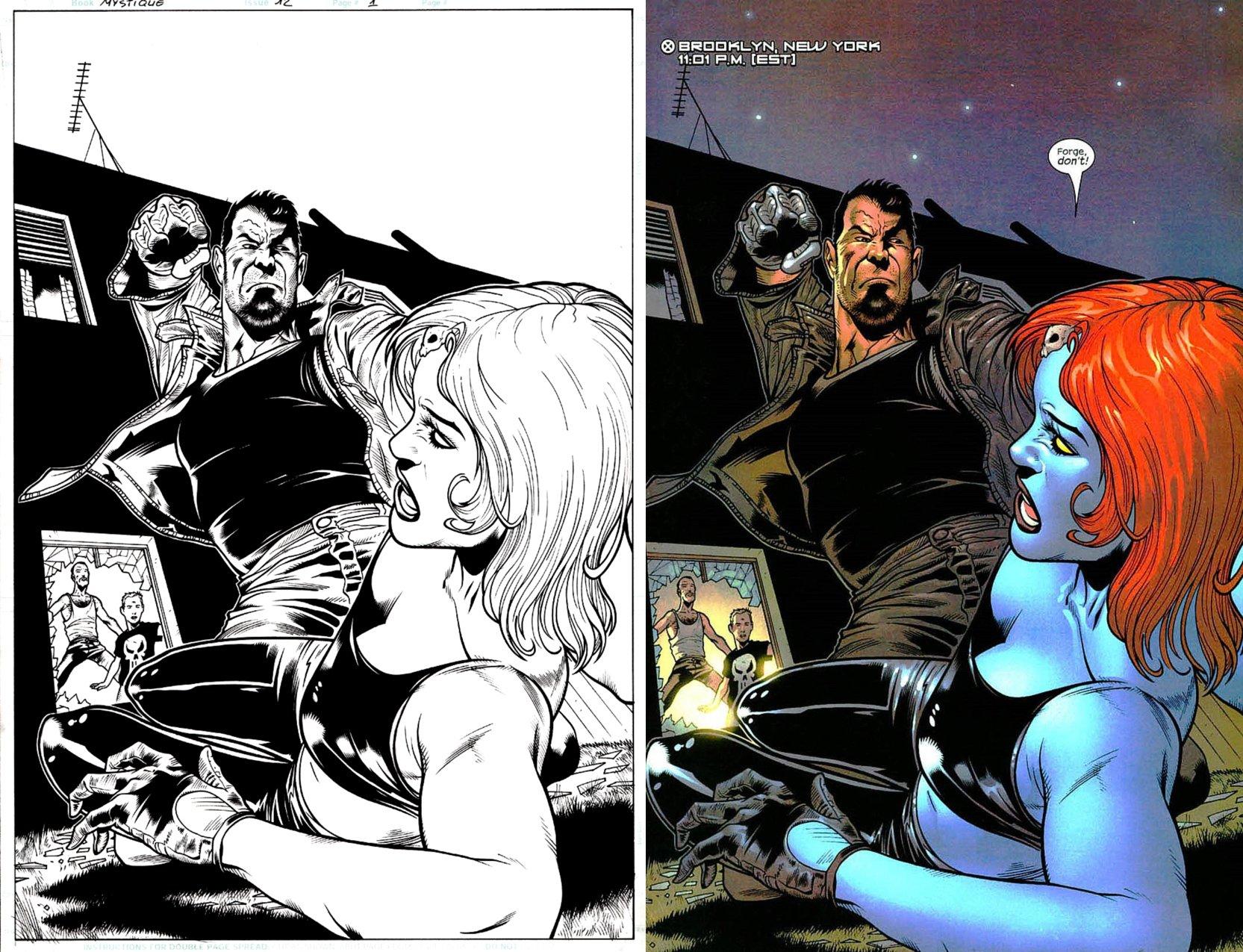 Mystique #12 p 1 SPLASH (Mystique Battles Forge!) 2004