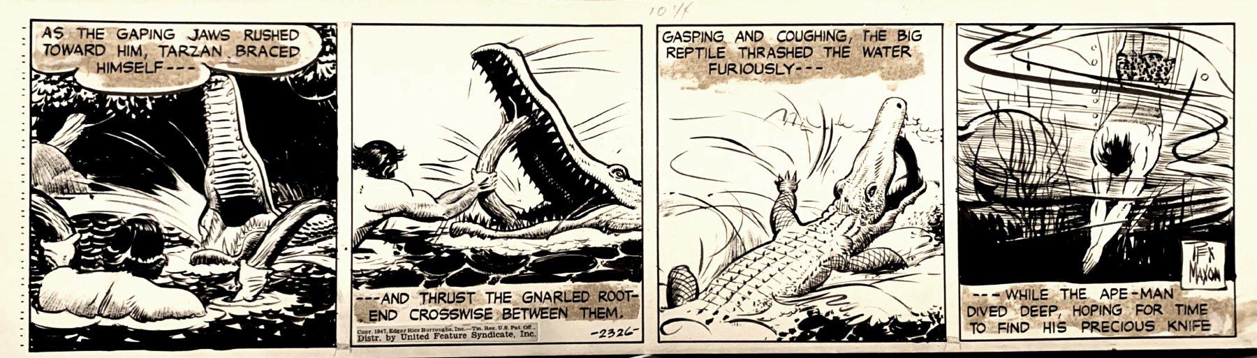 Tarzan Daily Strip (TARZAN BATTLING CROCODILE IN EVERY PANEL!) 1947