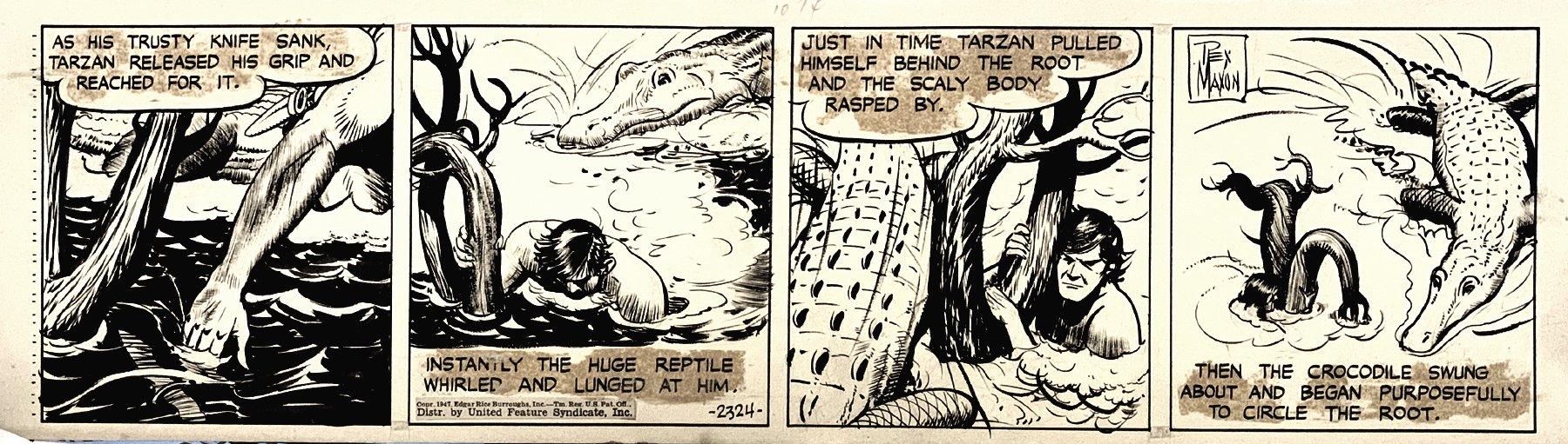 Tarzan Daily Strip 2324 (TARZAN BATTLING CROCODILE IN EVERY PANEL!) 1947