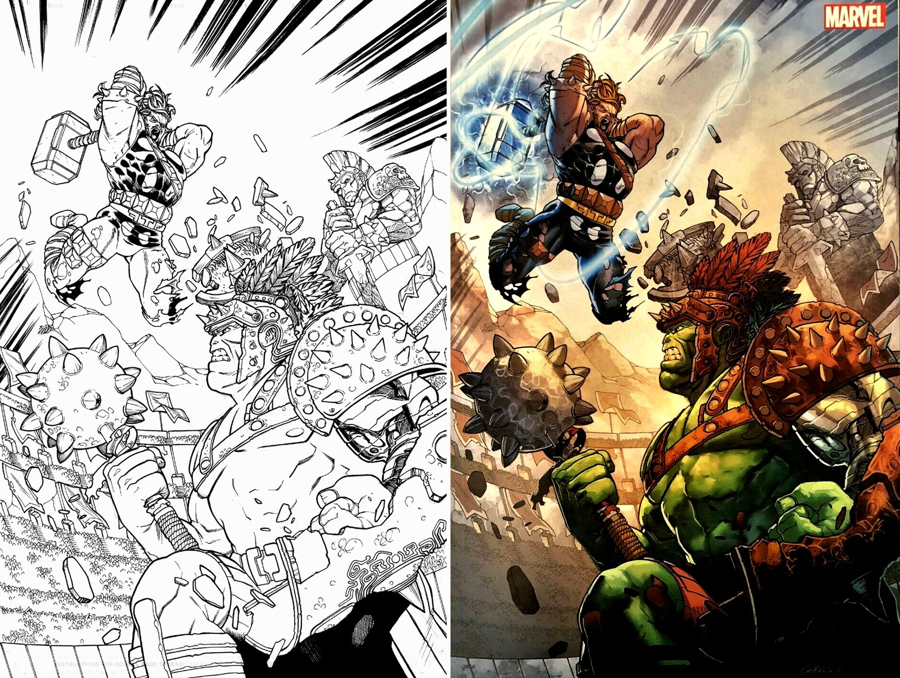 Thor vs Hulk PublishedCvr (SOLD LIVE ON 'DUELING DEALERS OF COMIC ART' EPISODE #29 PODCAST ON 8-4-2021 (RE-WATCH THIS FUNNY ART SELLING SHOW HERE)