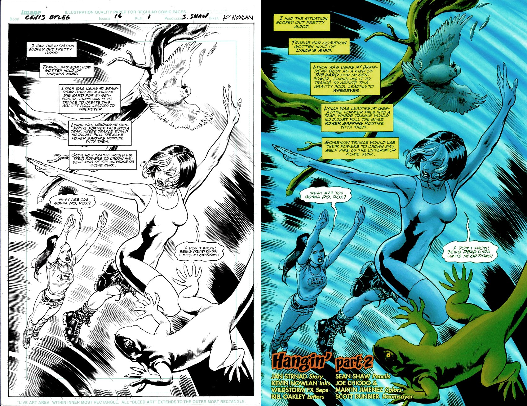 Gen 13 Bootleg 16 P 1 Splash (SOLD LIVE ON 'DUELING DEALERS OF COMIC ART' EPISODE #31 PODCAST ON 8-14-2021(RE-WATCH THIS FUNNY ART SELLING SHOW HERE)