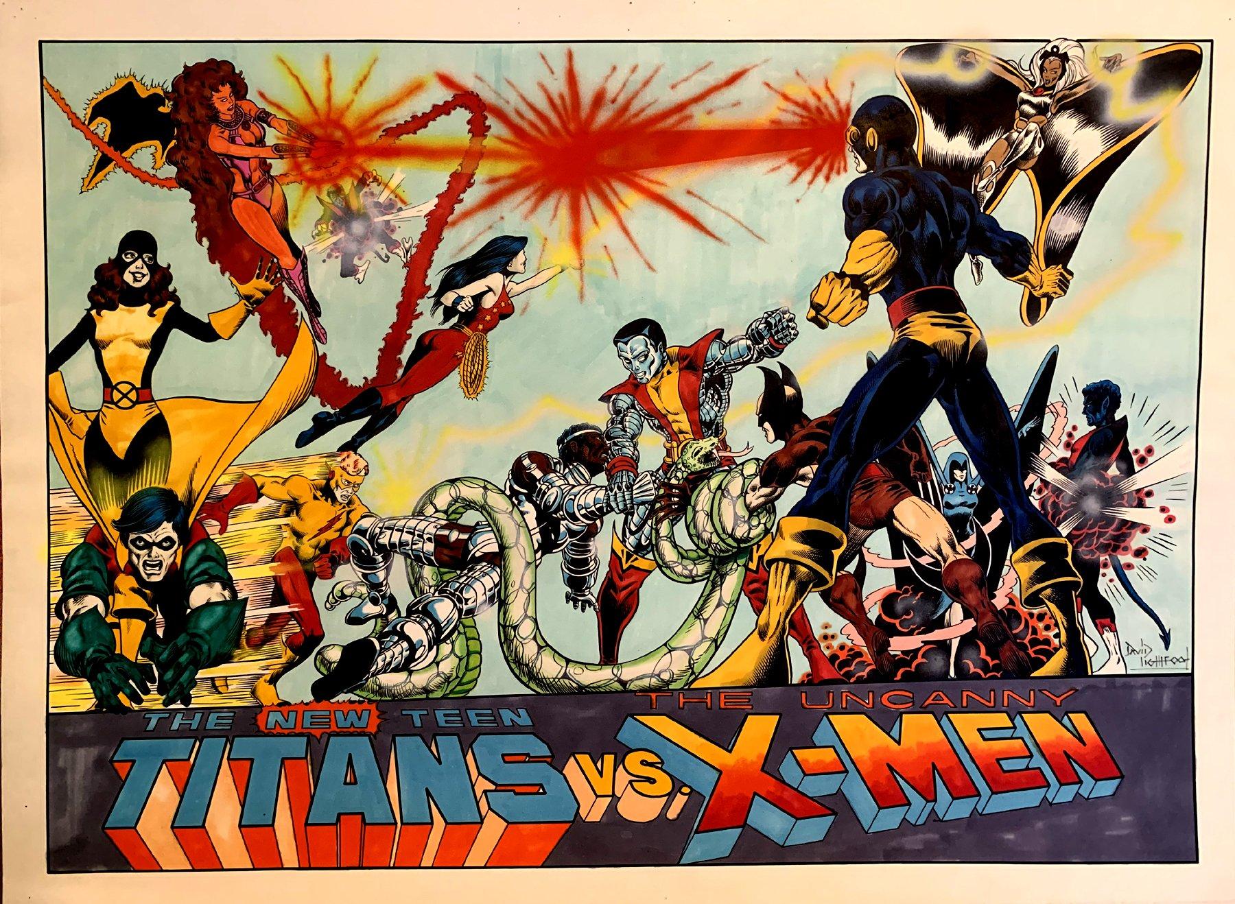 X-Men Vs Titans Huge Painting (SOLD LIVE ON 'DUELING DEALERS OF COMIC ART' EPISODE #37 PODCAST ON 9-22-2021