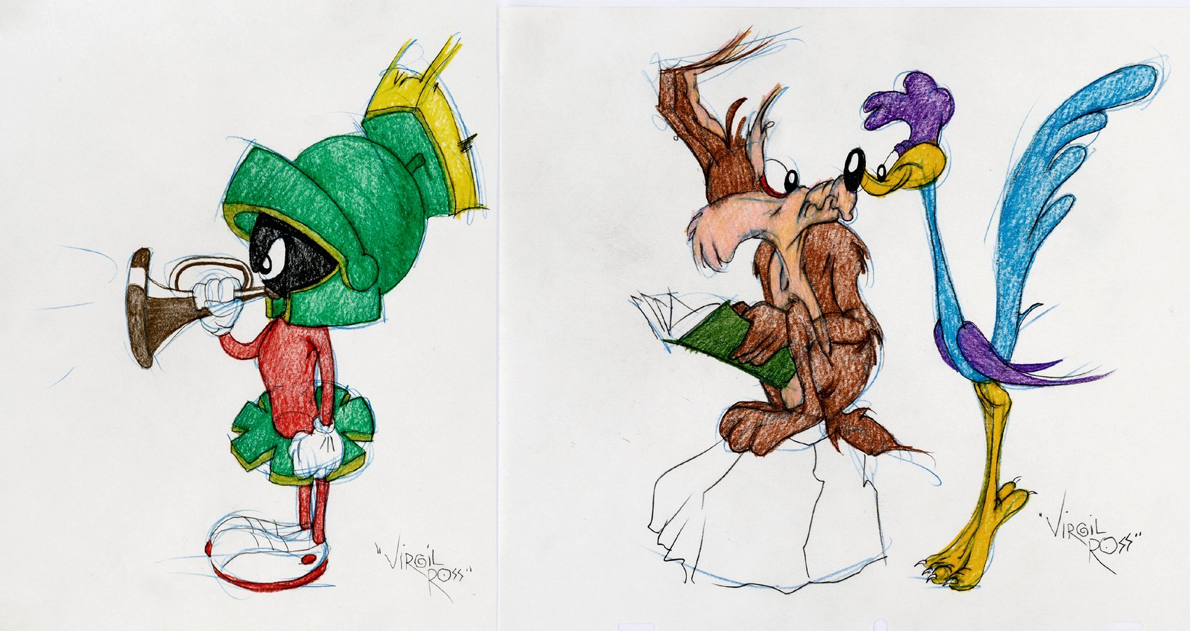 Wile E. Coyote / Road Runner & Marvin Pinups (SOLD LIVE ON 'DUELING DEALERS OF COMIC ART' EPISODE #38 PODCAST ON 9-29-2021)