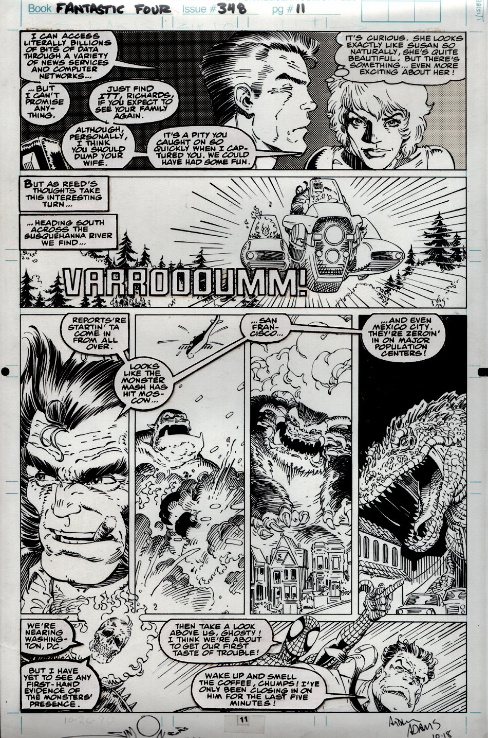 Fantastic Four #348 p 11 (Signed By Adams And Simonson. Great Simonson THING Drawing On Back) 1990