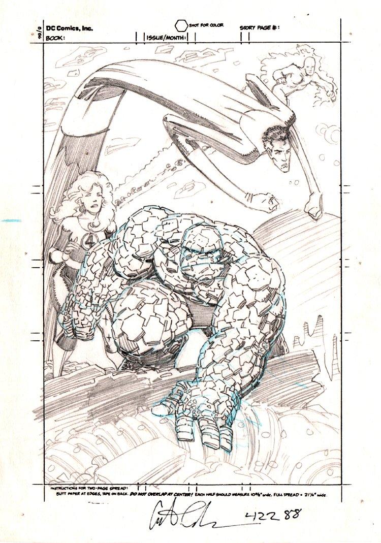 Marvel Fanfare #45 p 1 Pencils For Fantastic Four Pinup (1988)