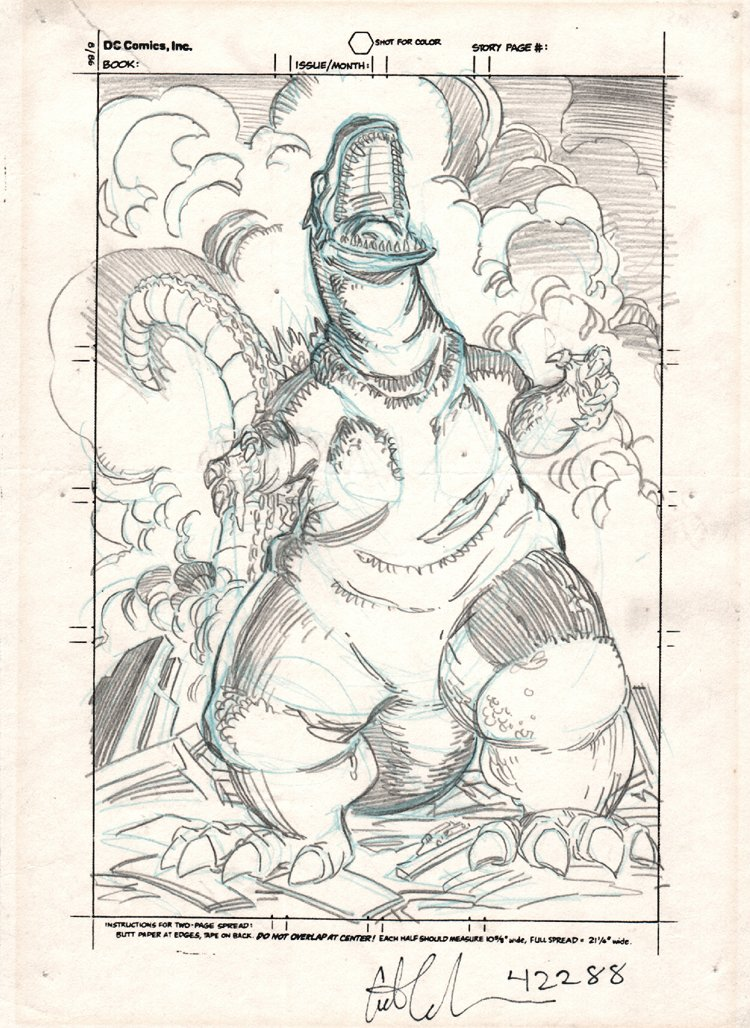 Godzilla Portfolio Set Front Cover Pencil (1988)