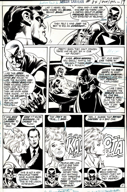 Green Lantern #84 p 15 (BERNIE WRIGHTSON INKS! GREEN LANTERN & THE BLACK HAND!) 1971