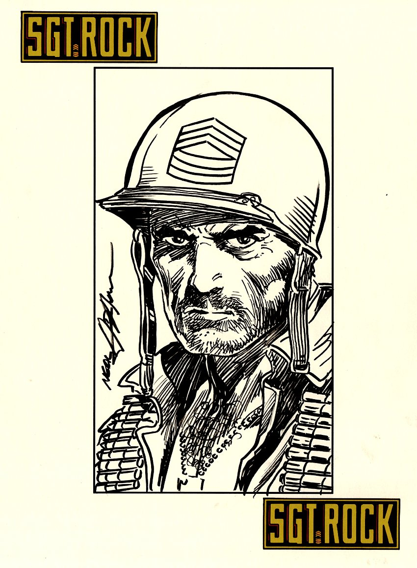 Detailed Sgt Rock Pinup SOLD LIVE ON 'DUELING DEALERS PRO-AM' EPISODE #7 PODCAST ON 9-14-2021 (RE-WATCH THIS FUNNY ART SELLING SHOW HERE)