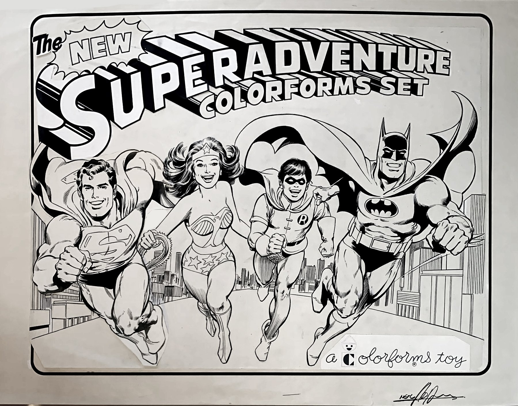 SUPERHEROES ADVENTURE SET, HUGE PUBLISHED COVER ART (BATMAN, SUPERMAN, WONDER WOMAN, ROBIN!) 1970s