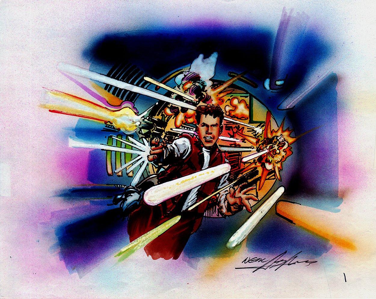 Buckaroo Banzai Penciled, Inked, & Hand Colored Battle Pinup