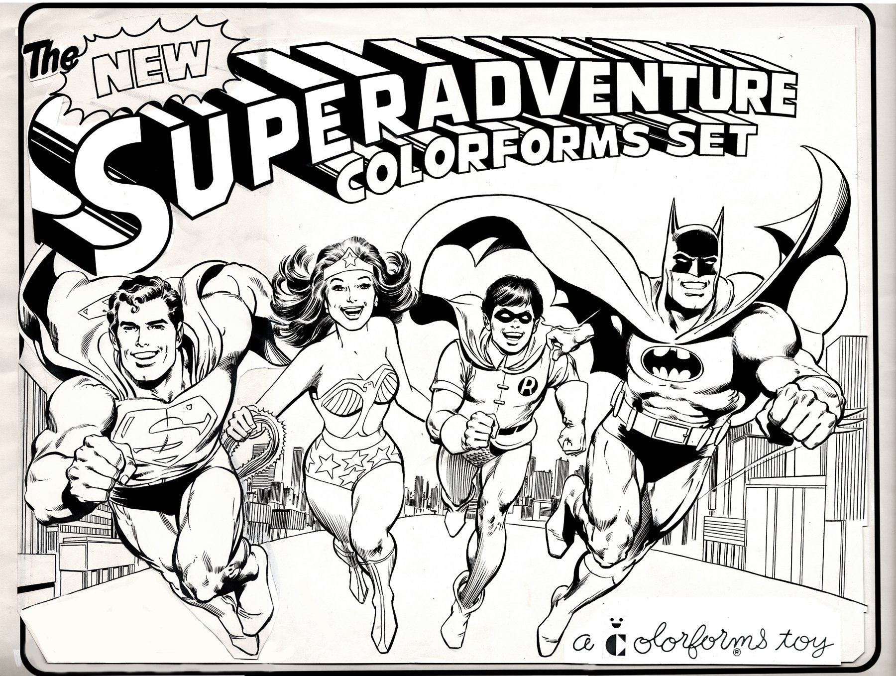SUPERHEROES ADVENTURE SET, HUGE COVER ART (1970s)