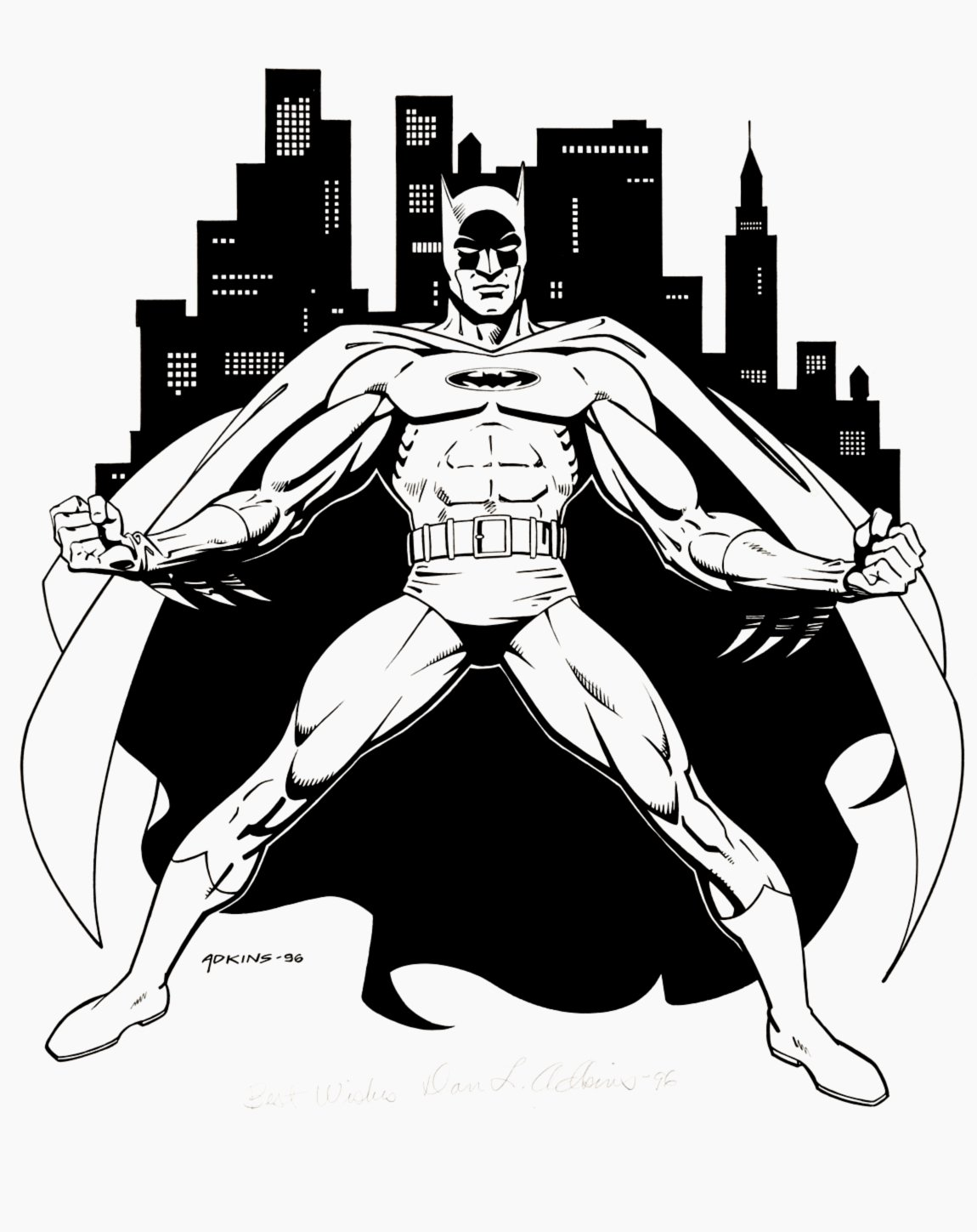 Large Batman Illustration SOLD LIVE ON 'DUELING DEALERS PRO-AM' EPISODE #7 PODCAST ON 9-14-2021 (RE-WATCH THIS FUNNY ART SELLING SHOW HERE)
