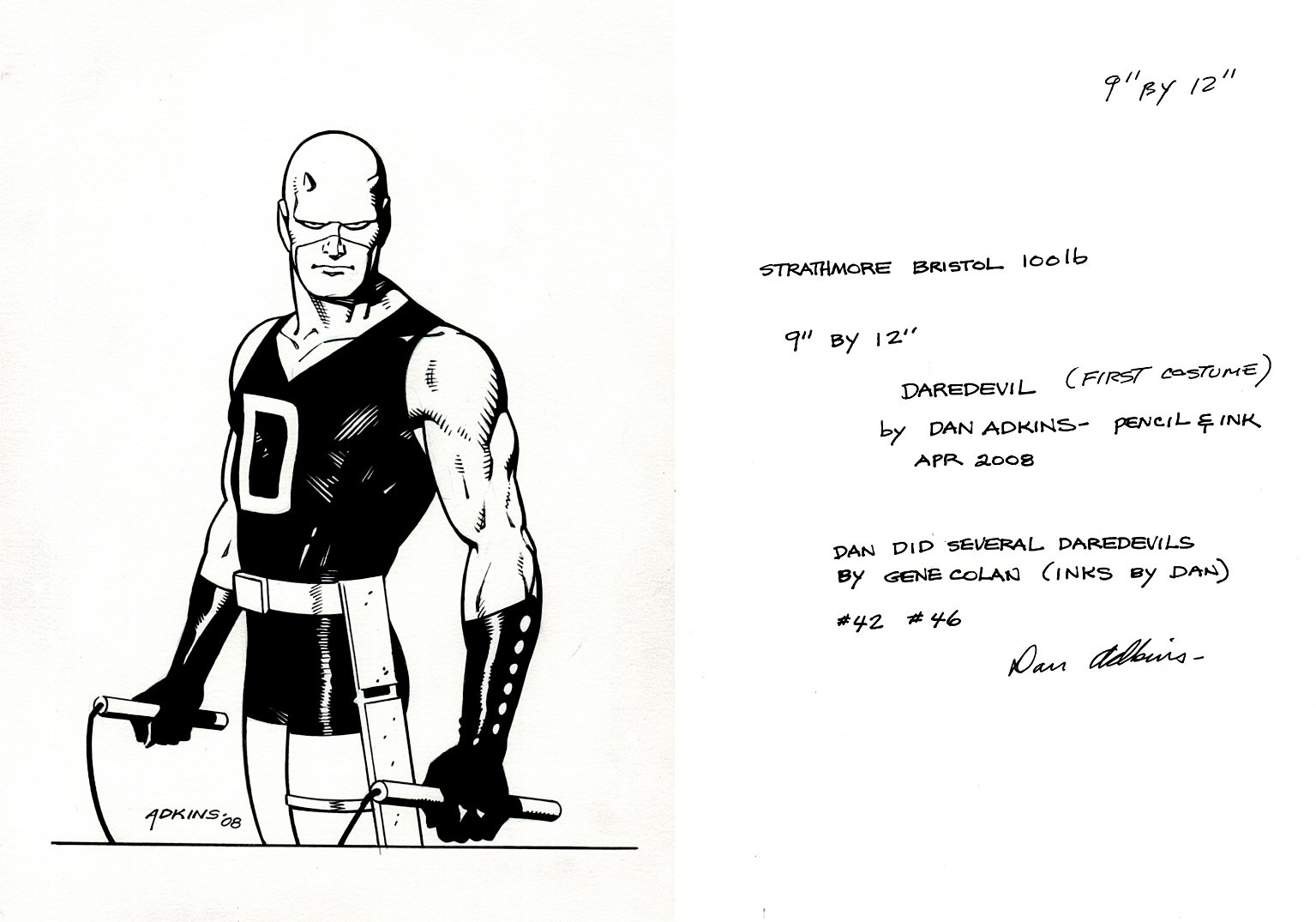 Daredevil Original 1964 Costume Pinup (SOLD LIVE ON 'DUELING DEALERS OF COMIC ART' EPISODE #22 PODCAST ON 6-16-2021 (RE-WATCH THIS FUNNY ART SELLING SHOW HERE)