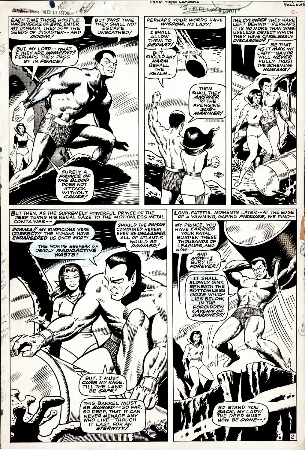 Tales to Astonish #92 p 2 (Sub-Mariner & Dorma in EVERY PANEL!) Large Art - 1967