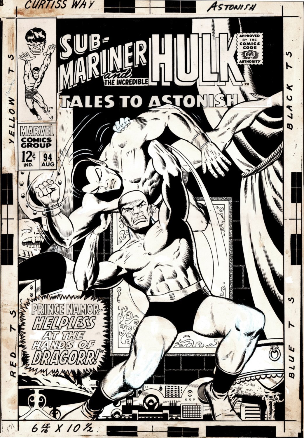 TALES TO ASTONISH # 94 LARGE ART COVER! (SUB-MARINER BATTLES DRAGORR!) 1967