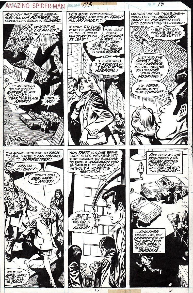 Amazing Spider-Man #173 p 15 (Molten Man, Liz Allen, Peter Parker, Flash Thompson, Harry Osborn, Mary Jane Watson) 1977