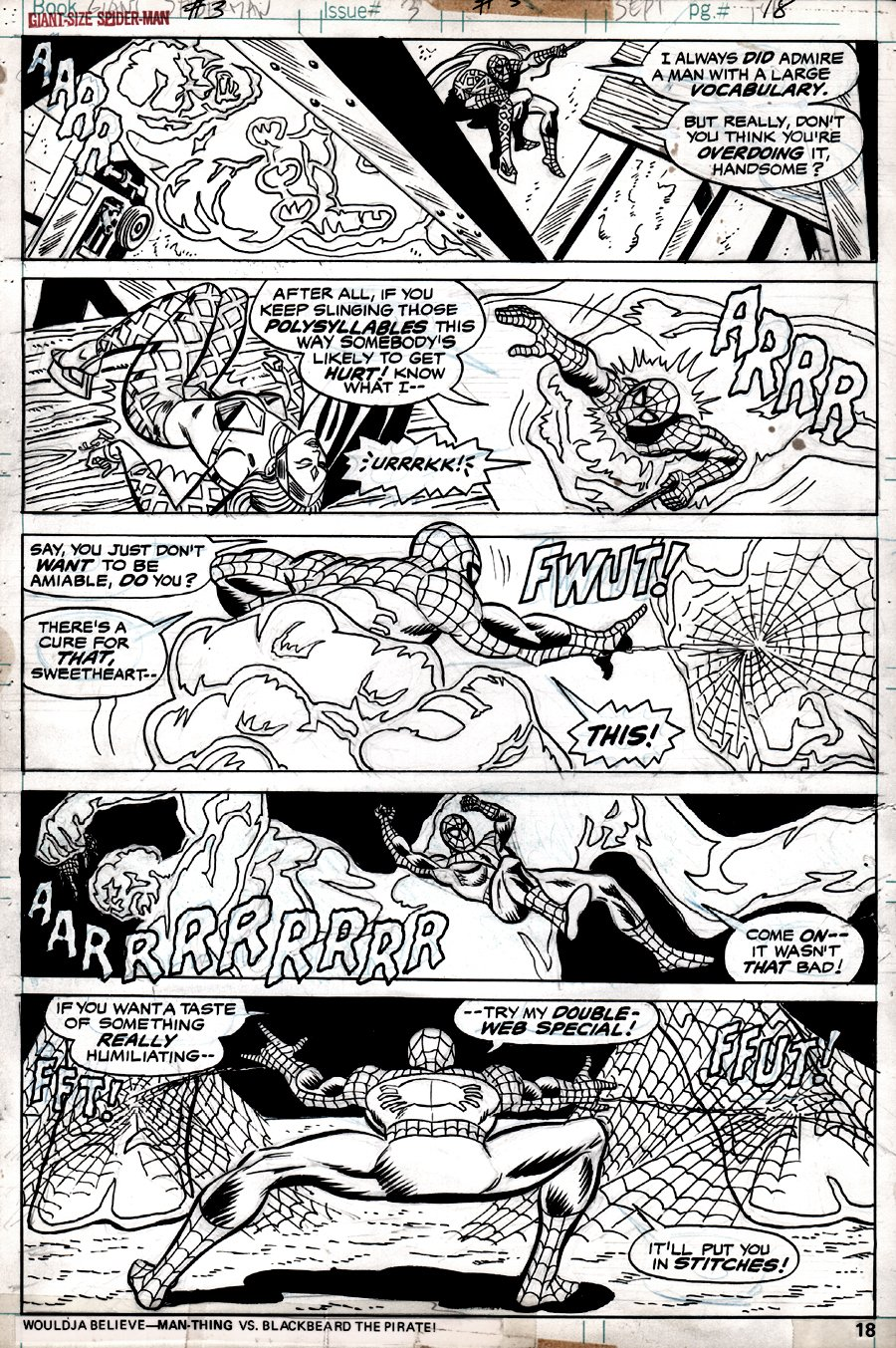 Giant-Size Spider-Man #3 p 18 (SPIDER-MAN IN ALL 5 PANELS!) 1974