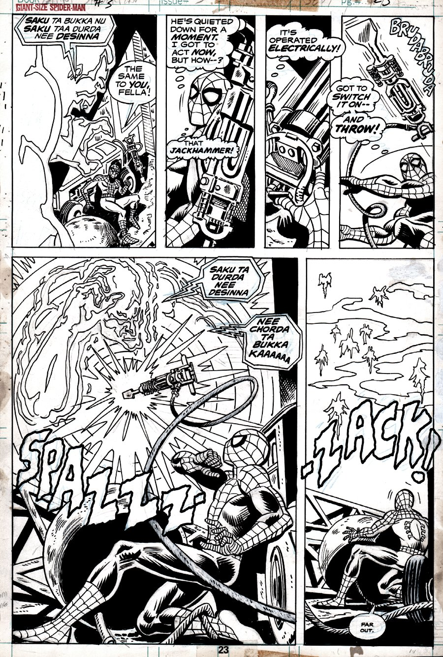 Giant-Size Spider-Man #3 p 23 (SPIDER-MAN IN ALL 6 PANELS!) 1974
