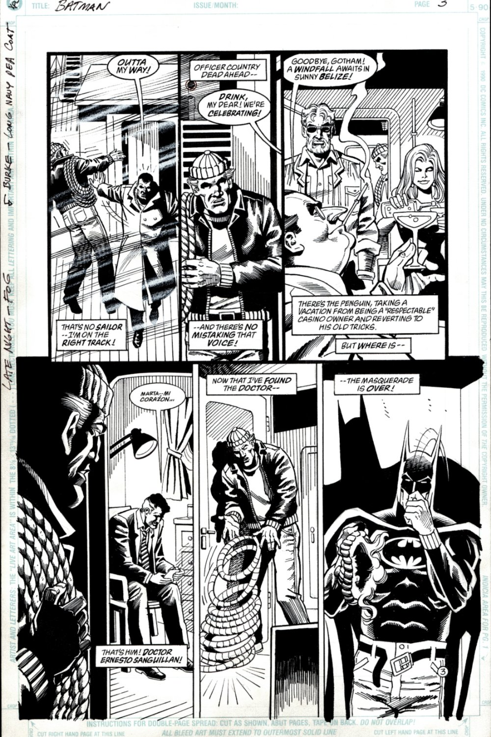 Batman #? p 3 1990 (SOLD LIVE ON 'DUELING DEALERS OF COMIC ART' EPISODE #39 PODCAST ON 10-4-2021(RE-WATCH THIS FUNNY ART SELLING SHOW HERE)