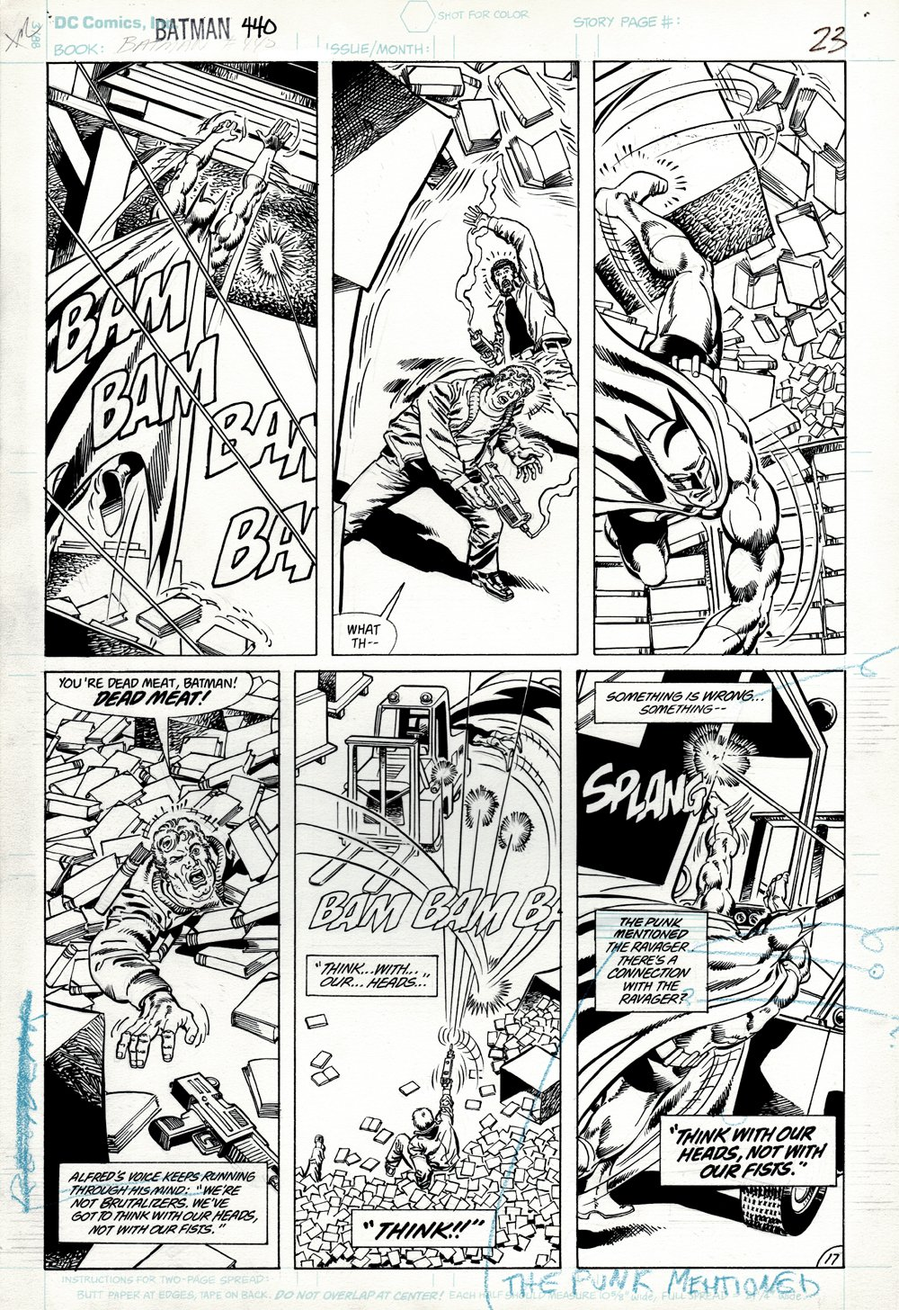 Batman #440 p 17 (SOLD LIVE ON 'DUELING DEALERS OF COMIC ART' EPISODE #35 PODCAST ON 9-4-2021(RE-WATCH THIS FUNNY ART SELLING SHOW HERE)