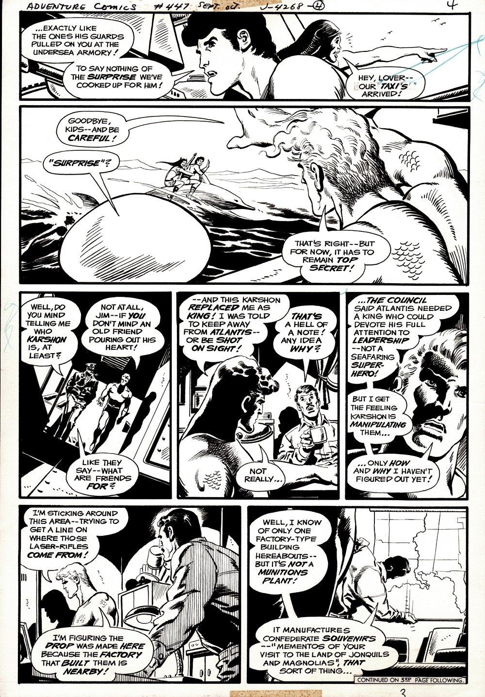 Adventure Comics #447 p 3 (Aquaman Throughout Page With Aqualad & Aquagirl!) 1976)