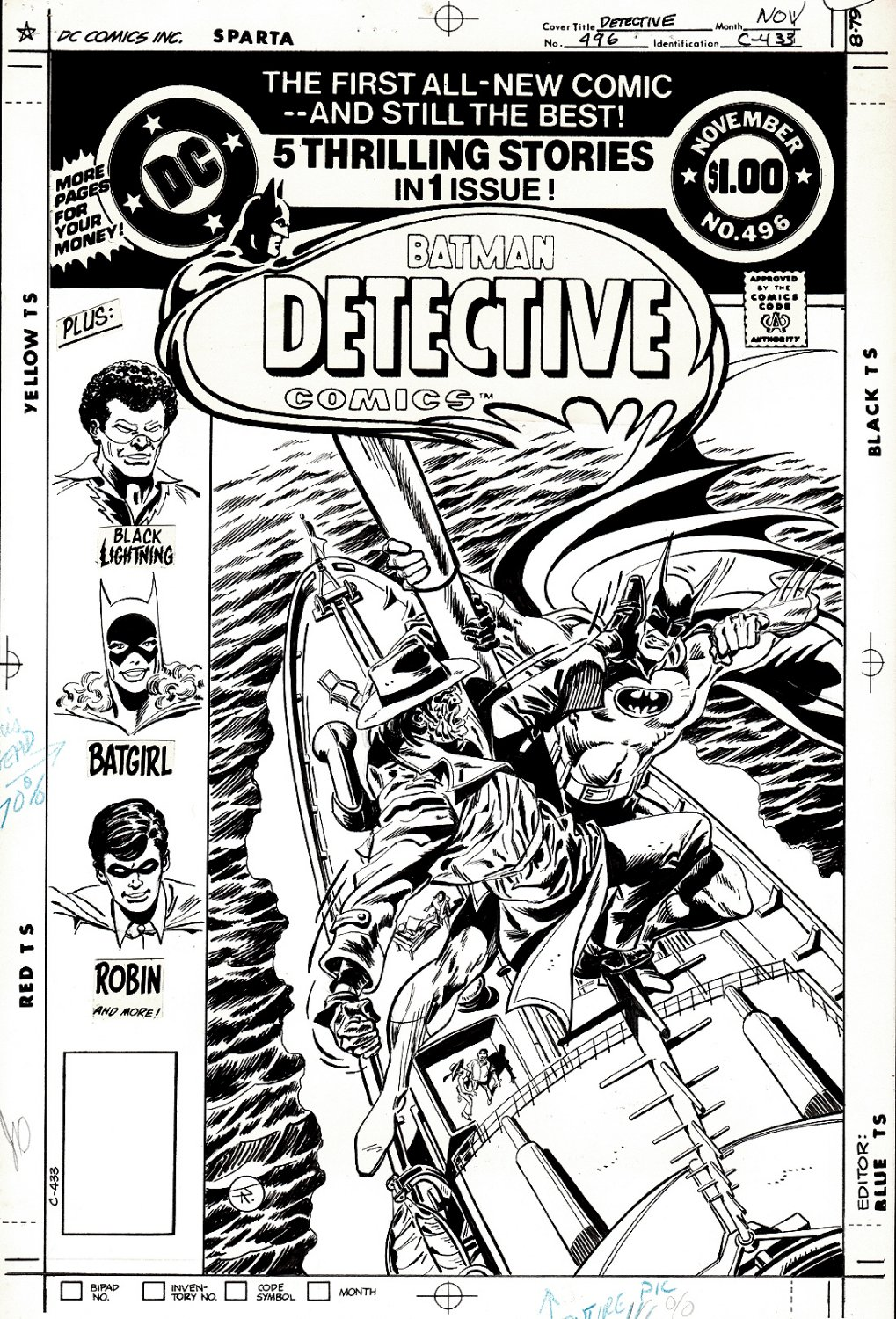 Detective Comics #496 Cover (BATMAN BATTLES ORIGINAL 1940 (Detective Comics #40) CLAYFACE, WHO DIES IN THIS ISSUE!) 1980
