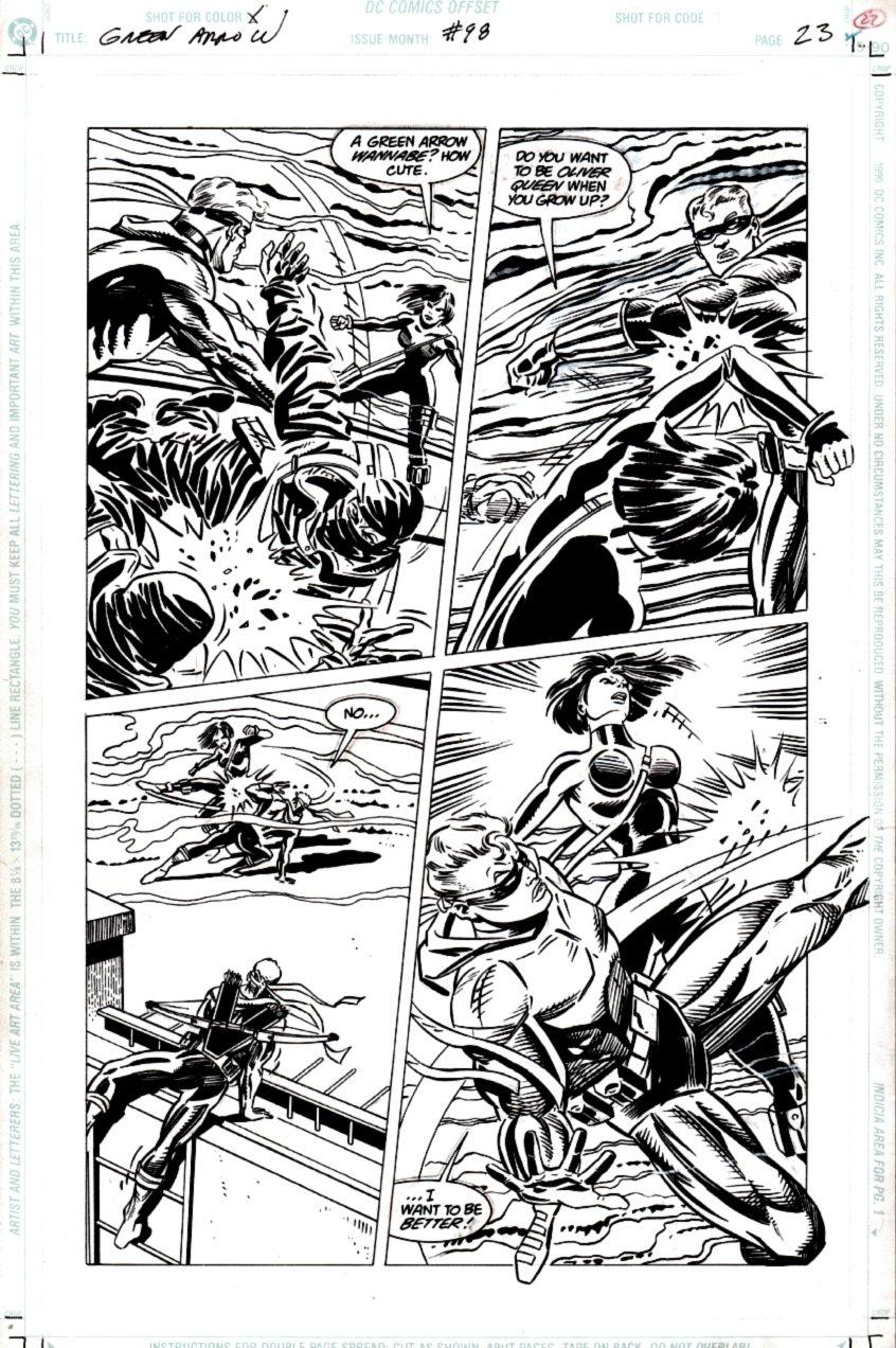 Green Arrow #98 p 23 (Battle Page!) 1995
